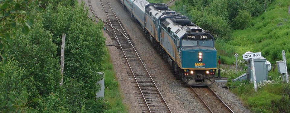 A VIA Rail train speeds through the New Brunswick countrside