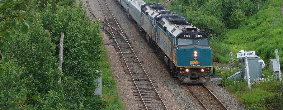 A VIA Rail train speeds through the New Brunswick countrside