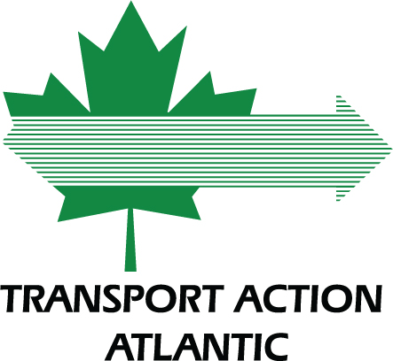 The Transport Action Atlantic logo, a green maple leaf with a right facing arrow