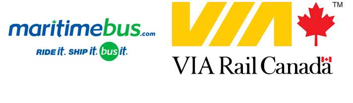 The logos for Maritime Bus and VIA Rail Canada