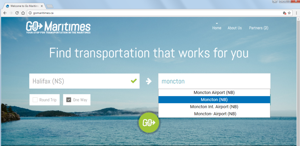 Screenshot of the Go Maritimes website, with menus to enter travel end points, date, and search options.